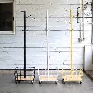 ポールハンガー カゴ キャスター付 スチールフレーム 幅38cm ( 洋服掛け ハンガー掛け バッグ置き 小物置き )|livingut