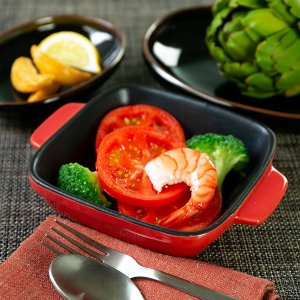 グラタン皿 角型 19cm フッ素加工 皿 プレート 耐熱皿 陶磁器 食器 ( オーブン 電子レンジ 対応 洋食器 耐熱 角皿 )|livingut|04