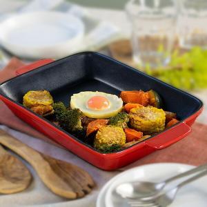 グラタン皿 角型 31cm フッ素加工 皿 プレート 耐熱皿 陶磁器 食器 ( オーブン 電子レンジ 対応 洋食器 耐熱 角皿 )|livingut