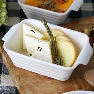 グラタン皿 長角型 14cm 一人用 ココット 皿 白 ホワイト 耐熱皿 陶器 食器 ( オーブン 電子レンジ 対応 食洗機対応 洋食器 )|livingut