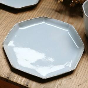 プレート 19cm 洋食器 アミューズ 陶器 食器 笠間焼 日本製 ( 食洗機対応 電子レンジ対応 皿 お皿 取り皿 八角形 )|livingut
