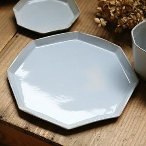 プレート 22cm 洋食器 アミューズ 陶器 食器 笠間焼 日本製 ( 食洗機対応 電子レンジ対応 皿 お皿 八角形 )|livingut