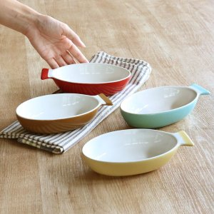 グラタン皿 一人用 さかなグラタン S 17cm 陶器 食器 ( オーブン 耐熱皿 皿 グラタン 器 1人 洋食器 電子レンジ ) livingut