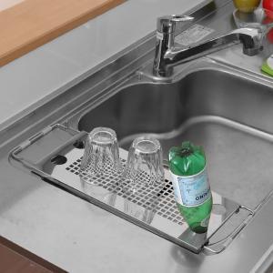水切りラック 伸縮式サポートラック ダブル ステンレス製 ( 水切りプレート シンク上水切り 水切りトレー )|livingut|08