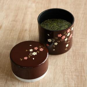 石川県山中塗で作られている合成漆器の茶筒です。上蓋に内蔵された中蓋がしっかりと密閉し、湿気を防止しま...