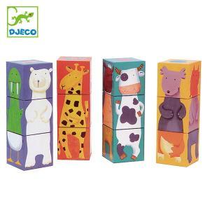 12個のパズルキューブです。16種類の動物たちが、それぞれ頭、胴、足の3つのキューブに分かれています...