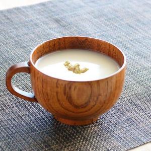 スープカップ 木製 220ml 小 漆 天然木 持ち手付き 食器 ( スープマグ 木目調 スープボウル お椀 椀 汁椀 )|livingut