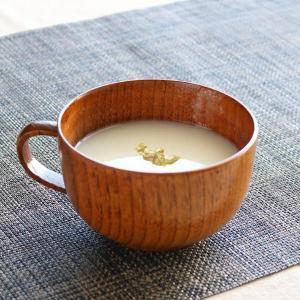 スープカップ 木製 320ml 大 漆 天然木 持ち手付き 食器 ( スープマグ 木目調 スープボウル お椀 椀 汁椀 )|livingut