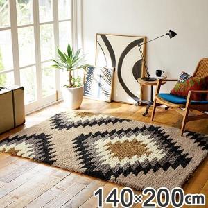 ラグ 約1.5畳 140×200cm 防ダニ 床暖 ホットカーペット対応 オルテガ柄