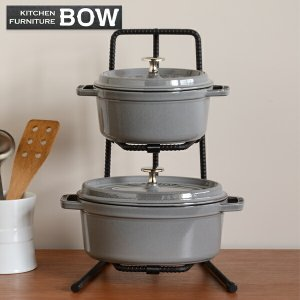 鍋スタンド 2段 BOW パンラック 鉄筋製 ( 鍋収納 アイアンラック 鍋置き台 )|livingut