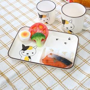 ランチプレート 21cm 小 Helloあにまる ねこ 仕切皿 食器 日本製 ( 電子レンジ対応 子供 食洗機対応 お皿 子供用食器 ランチ皿 )|livingut