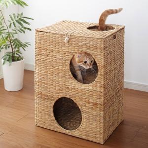 キャットハウス 2段 ちぐら風 天然素材 ウォーターヒヤシンス 幅45cm ( ネコ ねこ ペット用品 )|livingut