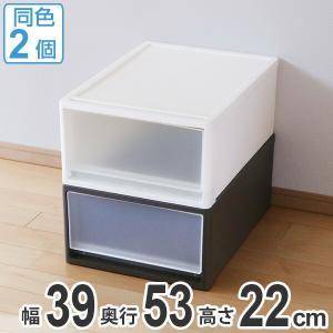 収納ケース ストラ 53-M 幅39×奥行53×高さ22cm クローゼット収納 プラスチック 引き出し 日本製 同色2個セット ( 収納ボックス 収納 ケース ボックス )|livingut