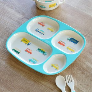 ランチプレート 24cm プライマルシリーズ CAR ランチ皿 メラミン樹脂 ( お皿 仕切り皿 軽い 子供 子ども用 食器 )|livingut