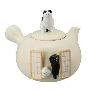 急須 450ml ふてぶてしい猫 磁器製 ( 電子レンジ対応 食洗機対応 黒猫 白猫 ぶち猫 )|livingut