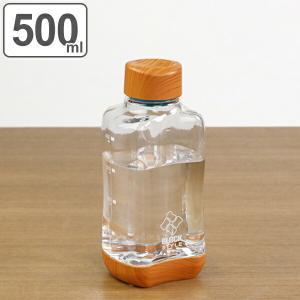水筒 直飲み プラスチック ブロックスタイル アクアボトル 500ml ウッド調 ( 目盛り付き プラスチックボトル ボトル クリアボトル )|リビングート PayPayモール店