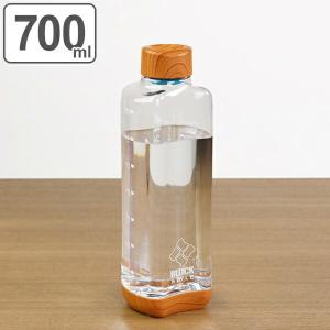 水筒 直飲み プラスチック ブロックスタイル アクアボトル 700ml ウッド調 ( 目盛り付き プラスチックボトル ボトル クリアボトル )|リビングート PayPayモール店