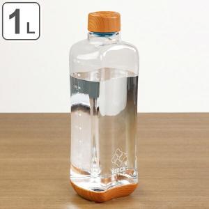 水筒 直飲み プラスチック ブロックスタイル アクアボトル 1L ウッド調 ( 目盛り付き プラスチックボトル ボトル クリアボトル ) livingut