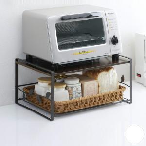 キッチンラック トースターラック リーフ 洗えるバスケット付き スチール製 ( トースター用ラック 収納ラック キッチン収納 )|livingut