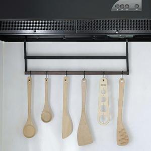 キッチンツールフック レンジフード用 木製 ( ツールハンガー レンジフードフック フック )|livingut