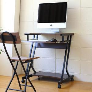 パソコンデスク 幅60cm ラック付き キャスター付き 木目調 ( PCデスク パソコンラック デスク )