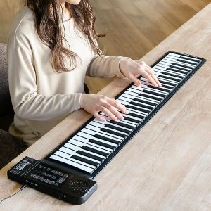 ピアノ 電子ピアノ コンパクト 61鍵盤 ロールアップピアノ ( ロールピアノ 電子ロールピアノ 電子キーボード 巻ける 折りたたみ 持ち運び ポータブル ) リビングート PayPayモール店