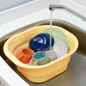 洗い桶 折り畳み シリコン製 漂白OK たためる洗い桶 ( 洗桶 洗いおけ たらい タライ 桶 おけ...