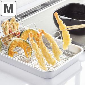 バット 深型 日本製 揚げ物名人 Mサイズ 32×23cm 立てるアミ付き ( 調理用バット ステンレストレイ 立てる 網つき 網付き ステンレス製 下ごしらえ 仕込み )|リビングート PayPayモール店