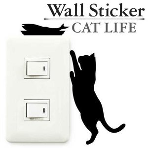 ウォールステッカー 壁紙シール 猫 お魚欲しい CAT LIFE
