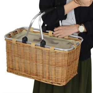 ピクニックバスケット 保冷かごバッグ 煮柳バスケット ふた付き ハンドル付き ( 保冷バッグ カゴバッグ 天然素材 ) livingut