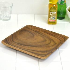 アカシア プレート 角皿 木製 25cm 食器 ( お皿 角型 ウッドプレート )|livingut