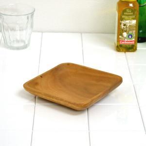 アカシア プレート 角皿 木製 15cm 食器 ( お皿 角型 ウッドプレート )|livingut