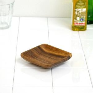 アカシア プレート 小皿 木製 10cm 食器 ( お皿 角型 角皿 ウッドプレート )|livingut