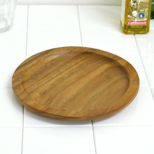 アカシア プレート 丸皿 リム付 木製 20cm 食器 ( お皿 ウッド ナチュラル )|livingut