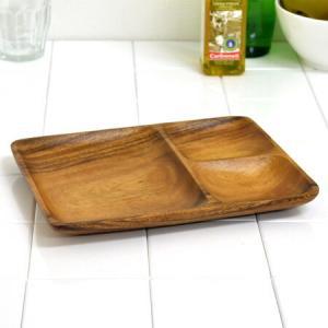 アカシア プレート ウッドプレート 三つ仕切り 角長 木製 食器 ( お皿 角型 ランチプレート モーニングプレート )|livingut