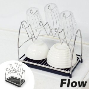 グラススタンド グラスラック 2段 Flow ( 卓上スタンド コップ グラス スタンド 水切りラック )