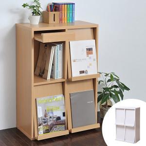 ディスプレイラック フラップ 4枚扉 幅60cm ボックスラックシリーズ ( 本棚 書棚 ディスプレイ棚 おしゃれ 棚 ディスプレイ収納 シンプル 北欧 ) livingut