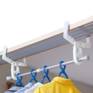 室内物干し フック クロスフック 鴨居・ドア枠用 伸縮ポール付 部屋干し 2個組|livingut