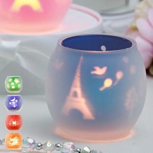 シルエットグラス キャンドルホルダー クリアカップキャンドル4個付き ( キャンドルグラス ガラス製 キャンドルスタンド )|livingut