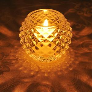 キャンドルホルダー キャンドルグラス ガラス製 ダイヤモンドボール ( キャンドルスタンド ろうそく立て アロマ 香り キャンドル )|livingut