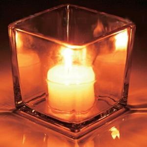 キャンドルホルダー キャンドルグラス スクエアグラス ティーライト用 S ガラス製 ( キャンドルスタンド ろうそく立て アロマ 香り キャンドル )|livingut
