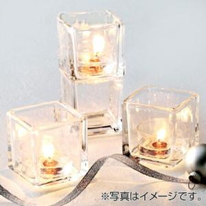 キャンドルホルダー キャンドルグラス キュービック ティーライト用 ガラス製 ( キャンドルスタンド ろうそく立て アロマ 香り キャンドル )|livingut