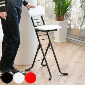 椅子 高さ調節 6段階調節 リリィチェア クッションタイプ 折りたたみ チェア スチール ブラック×...