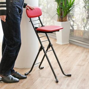 椅子 高さ調節 6段階調節 リリィチェア クッションタイプ 折りたたみ チェア スチール レッド×ブ...