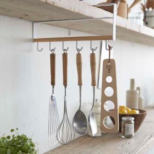 キッチンツールハンガー 縦型 戸棚下 木製