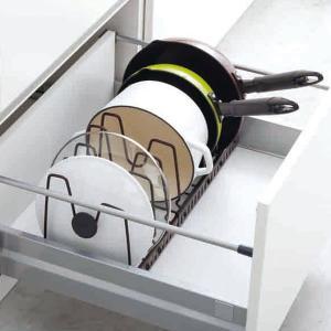 フライパン収納 伸縮式フライパン&鍋ブタスタンド ファビエ FV30 ( Favie 収納ラック キッチン 収納 フライパン )の写真