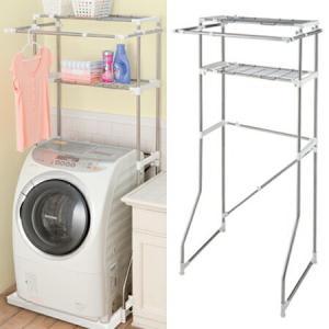ランドリーラック スライド式 バー付 洗濯機ラック PORISH ステンレス製 ( 洗濯機 ラック 洗濯機棚 ランドリー収納 )|livingut