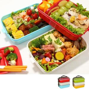 ピクニックランチボックス お弁当箱 レジャーランチボックス 3段 取り皿付き チェリー ( お重 運動会 行楽 )|livingut