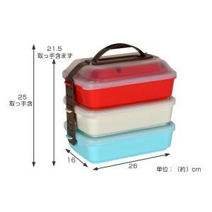 ピクニックランチボックス お弁当箱 レジャーランチボックス 3段 取り皿付き チェリー ( お重 運動会 行楽 )|livingut|04