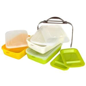 ピクニックランチボックス お弁当箱 レジャーランチボックス 3段 取り皿付き チェリー ( お重 運動会 行楽 )|livingut|05